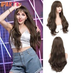 Синтетические темно-коричневые парики для женщин, Длинные цветные натуральные волнистые Искусственные парики, термостойкие волоконные па...