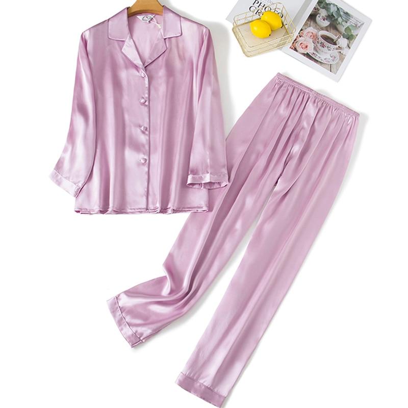 Pajamas for women pyjamas 100% pure silk 19mm sleepwear night suit home wear 2 pieces/set