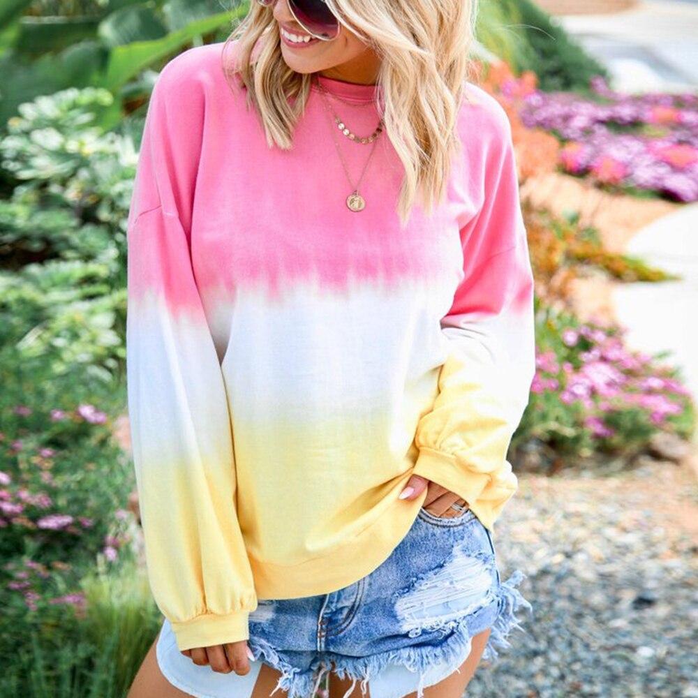 Модная градиентная цветная печать, толстовка с капюшоном, футболка, блузки для женщин, большой размер, круглый ворот, Осенние Топы, новинка, ...