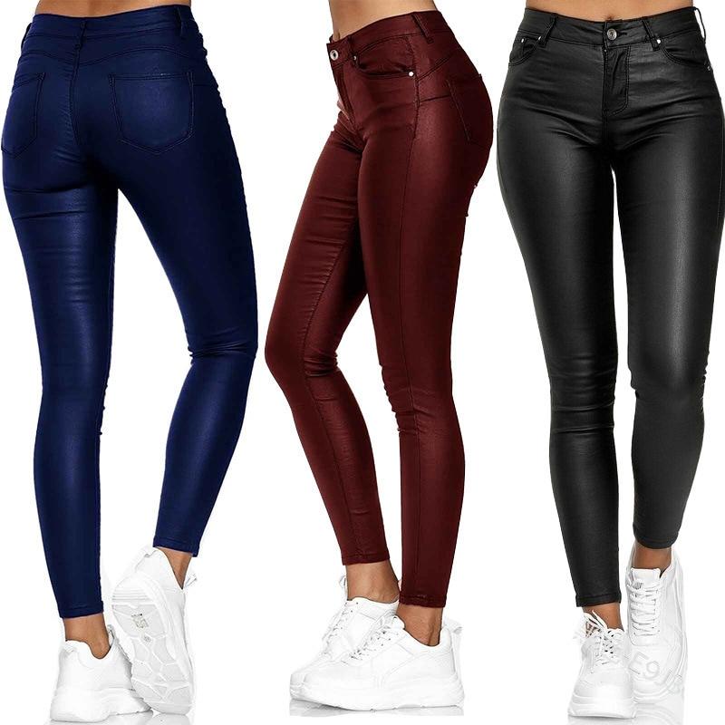 Кожаные повседневные брюки, маленькие штаны, женские теплые брюки, Сексуальные облегающие Женские эластичные брюки с высокой талией, модны...