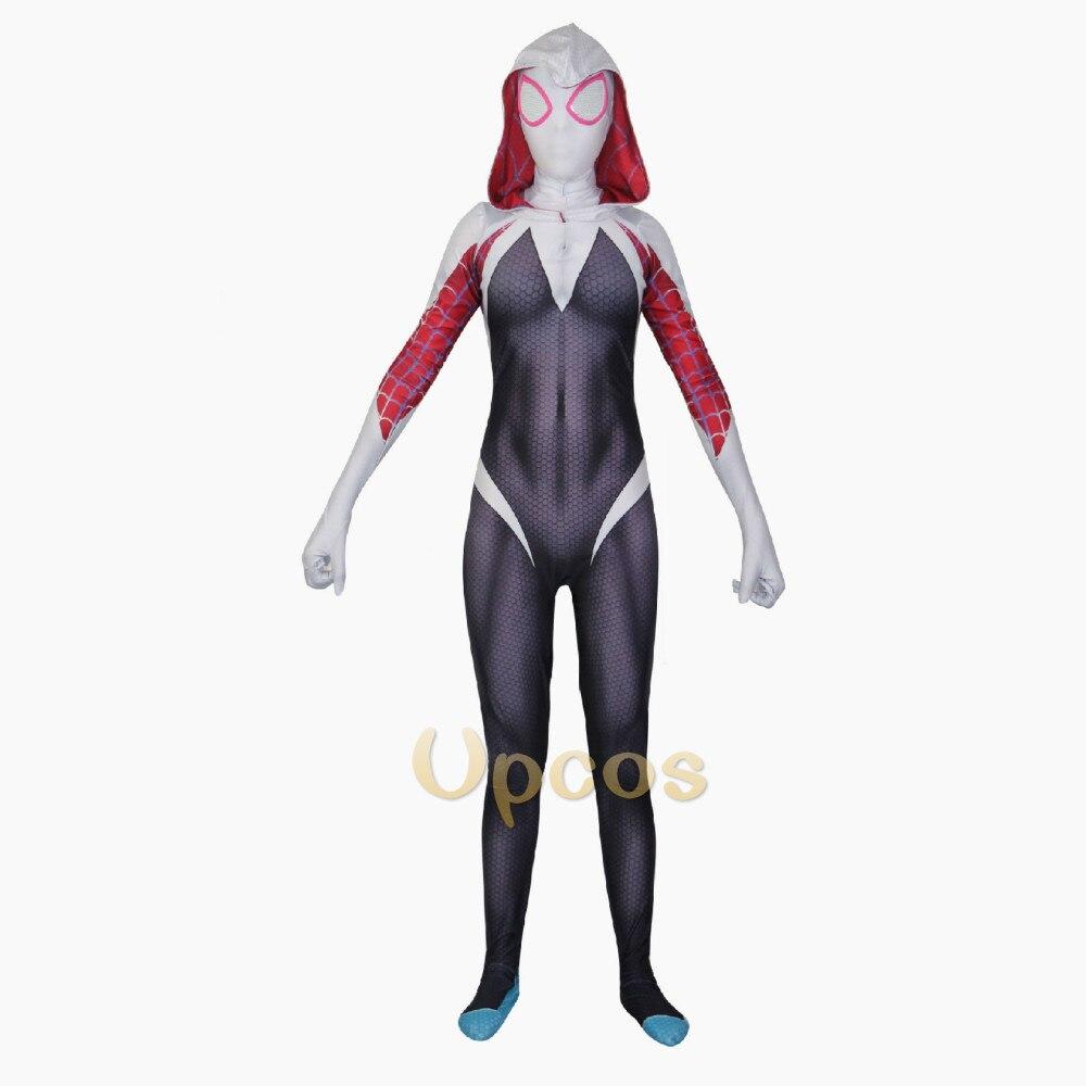 Disfraz de Halloween para mujer, traje de Spiderman Gwen, traje de LICRA con estampado 3D de Gwen Stacy Zentai, disfraz blanco anti-gwenom para chicas