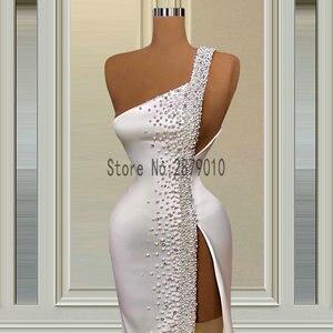Ivory One Shoulder Pearls Evening Dresses High Split Sexy Satin Evening Gowns Robes De Soiree Aibye вечернее платье Dubai