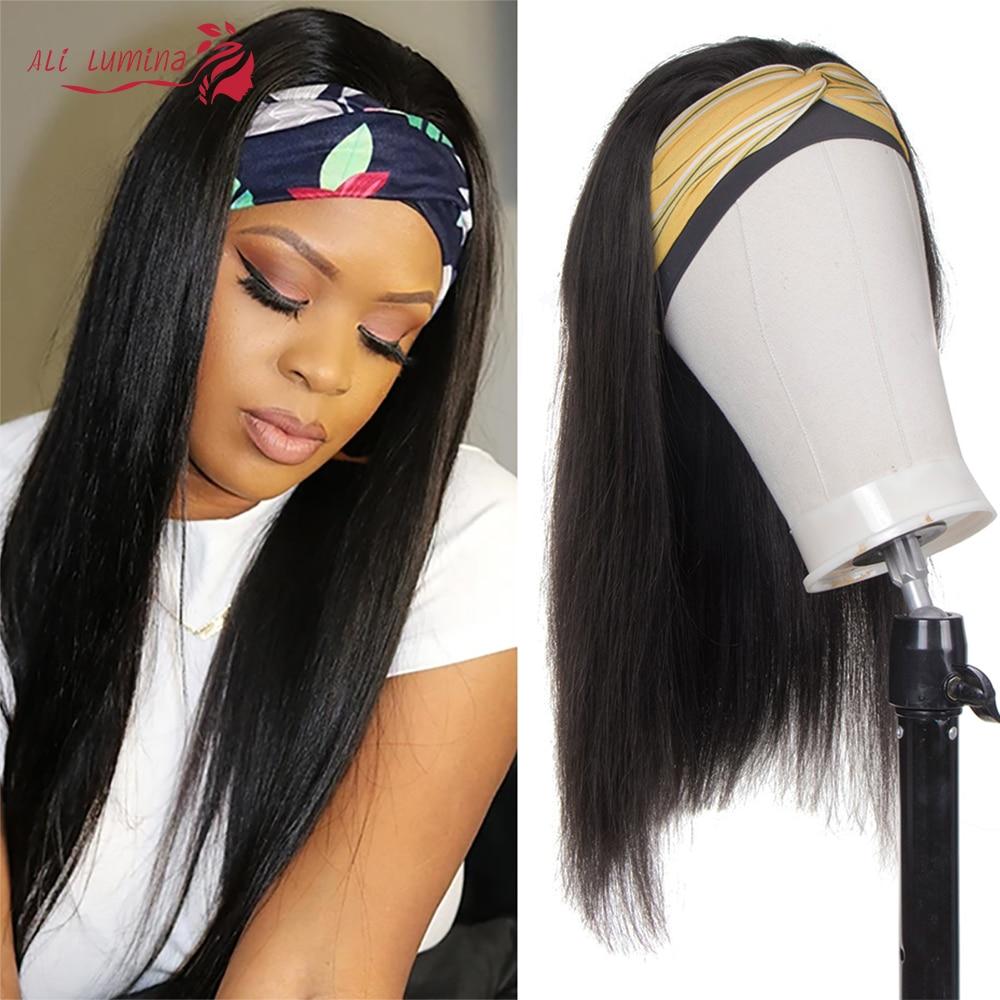 Headband Wig Human Hair Wigs Brazilian Long straight Glueless Human Remy Hair Full Machine Made Wig 130 150 Density Headband Wig