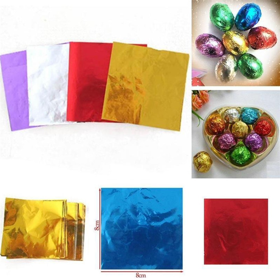 TTLIFE 100 Uds papel de aluminio para alimentos paquete de caramelos de Chocolate DIY caja de regalo Paquete de papel de aluminio para dulces envoltura 5 colores brillantes