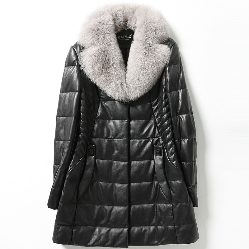 Winter Black Warm Sheepskin Medium Length Pockets Jackets Fashion High Quality Plus Size 4xl 5xl 6xl Thick Women Leather Coat