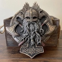 viking berserker double axe plaque resin statue ornament vintage warrior valhalla sculpture figurine wall decoration for home of