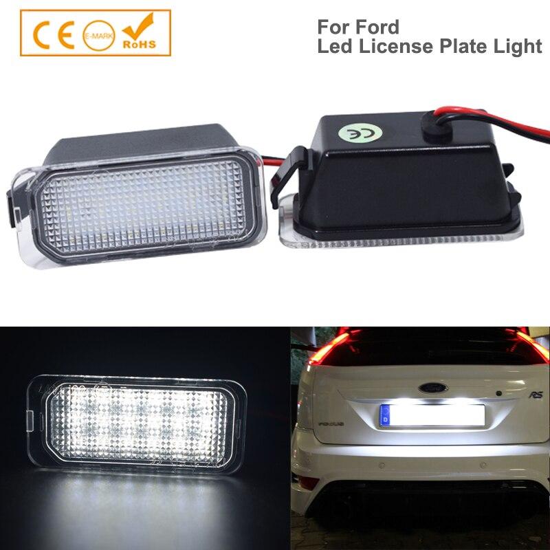 2x número traseiro luz da placa de licença para ford b-max c-max borda foco fiesta kuga mondeo S-MAX gama carro led branco lâmpada automóvel