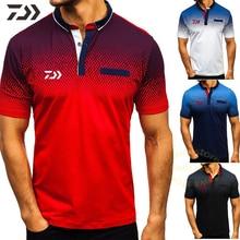 T-shirt de pêche pour hommes, chemise Polo à col rabattu, à manches courtes, à boutons Patchwork, pour lété