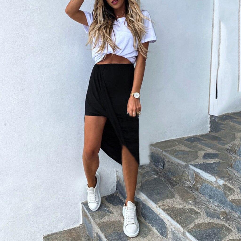 Mujeres de color sólido irregular falda Casual falda... negro gris... caqui mujeres...