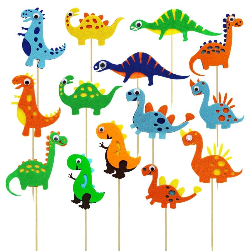 Smart Eyes Dinosaur Cake Topper Jungle Safari Dino Cupcake Decor Jurassic World Roar Happy Birthday Party Decor Kids Boy 1st Fav