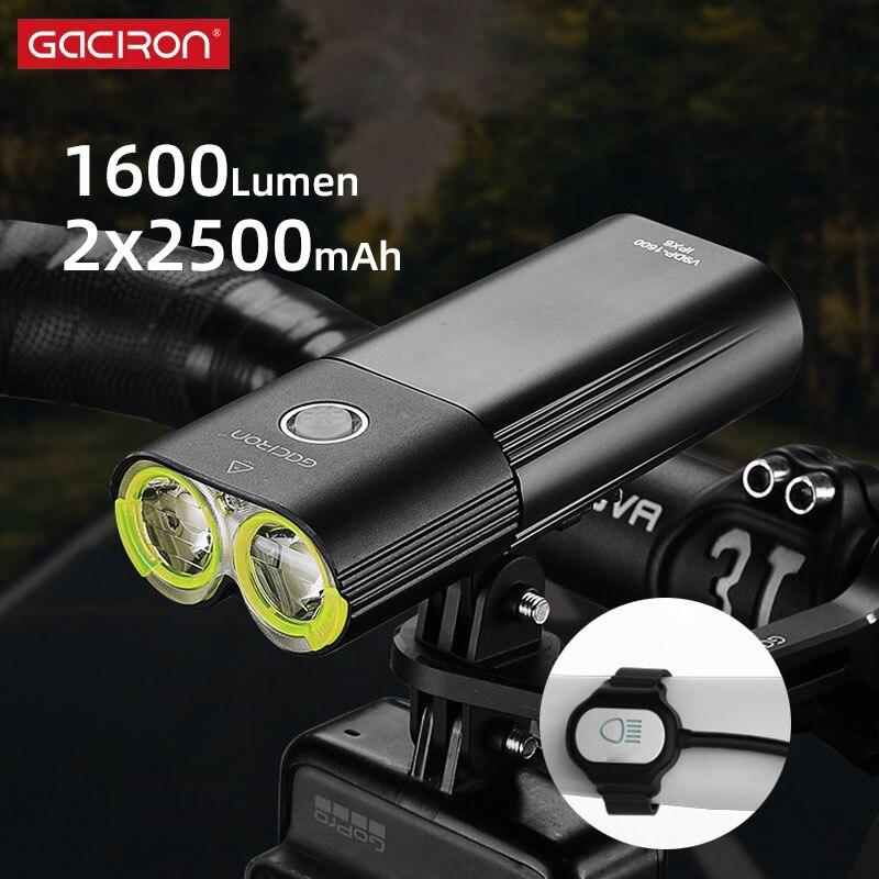 Gaciron V9DP-1600 الدراجات الجبهة الإضاءة مصباح إضاءة أمامية للدراجة السوبر مشرق 2 LED الخرز 6 طرق بطارية داخلية USB تهمة