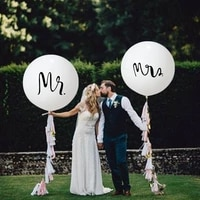 2pcslot good quality 36inch round white print mrmrs latex balloons happy wedding valentines day mariage air globos supplies