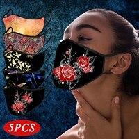 5pcs Mouth Mask Luxury Design Cotton Adults Flower Tie-dye Butterfly Dragonflies Rose Prints Washable Mask Mascarillasdetela