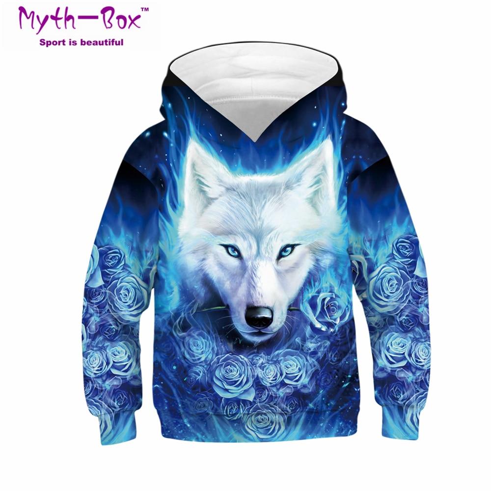 Children's Hoodies Sweater Autumn Flower Wolf 3D Print Teens Kids Sweatshirt Junior Child Tops 5-14y Boy&Girl's Hooded Sportwear