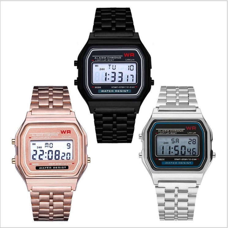 F91W Steel Strap Watch Vintage LED Digital Sports Military Watches Electronic Wrist Band Clock Ladie