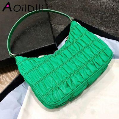 2020 Luxury Design Women Hobo Pleated Tote Bag Candy Color Summer Underarm Bag Nylon Handbag Small Shoulder Bag Female Purses