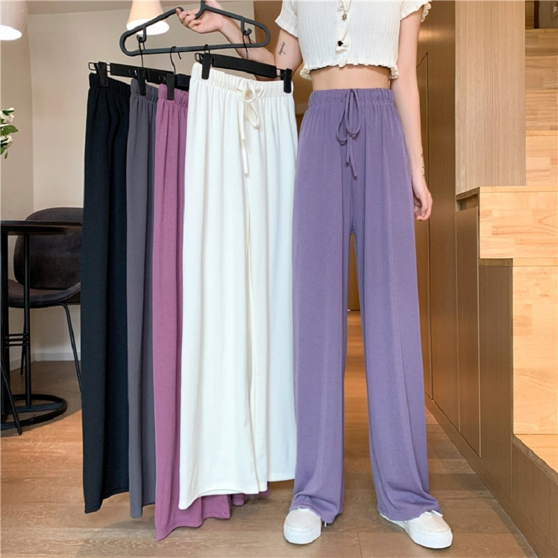 Wide-leg pants women's spring autumn summer 2021 new high-waisted mopping pants are thin and loose ice silk thin straight pants