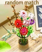 moc creative flower bouquet building blocks set diy decoration room art ornament bricks birthday toys for children friends gift