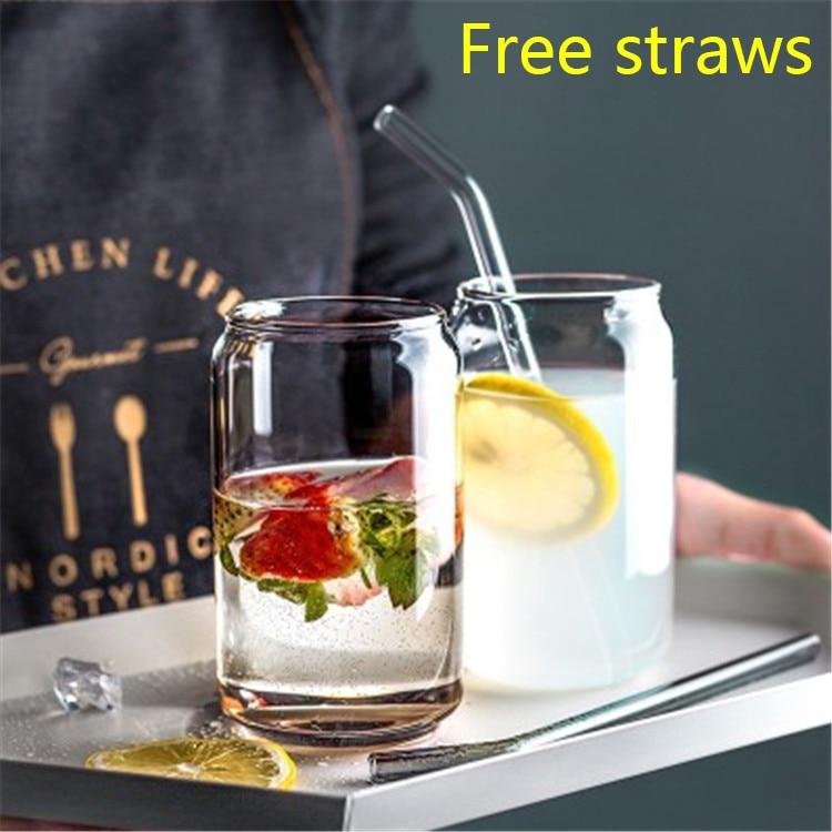 570ml de vidrio minimalista taza pajita transparente para beber utensilio con pajitas leche cerveza Coca Cola de jugo de bebida fría hecha a mano tazas puede establecer