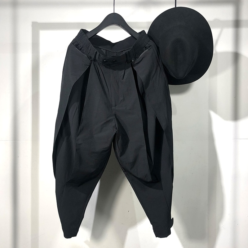 Owen Seak, pantalones harén informales para hombre, ropa de hombre, pantalones de chándal de calle de carga alta, pantalones negros japoneses de largo a la pantorrilla para otoño para hombre