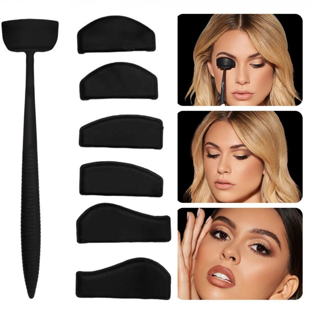 6 In 1  Eyeshadow Stencils Kit Silicone Eyeshadow Eyes Applicator Fixer In Seconds Makeup Tool
