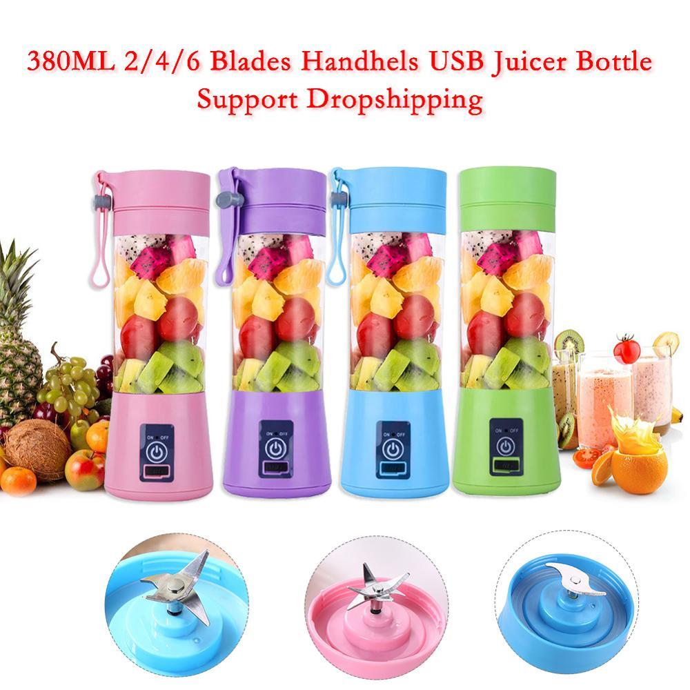 Licuadora eléctrica USB portátil de 2/380ML 4/6 cuchillas, exprimidor inteligente de frutas para el hogar, exprimidor de zumo de verduras, taza mezcladora de zumo recargable