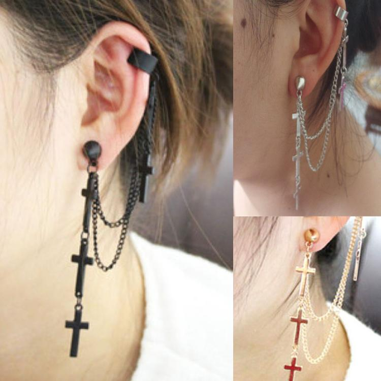 1pc Women Fashion Cool Punk Style Crosses Pendent Tassel Chain Ear Wrap Cuff Stud Clip Earring Gifts EAR-0172