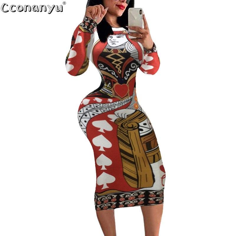 Vestido de póquer para mujer, vestido de otoño 2019 con estampado de manga larga, vestido Casual de fiesta hasta la rodilla, Vestidos