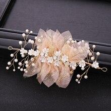Fil de soie à la mode fleurs mariée bandeau beauté Mariage cheveux accessoires rose cheveux ornements Diadem Mariage Bijoux de tete cheve