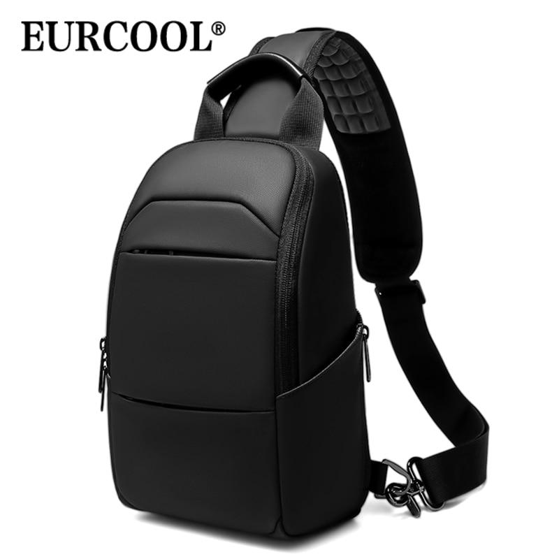 "EURCOOL Messenger Bag for Men 9.7"" IPad Chest Pocket Crossbody Water-Proof Pack Bags Multi-Function Shoulder n1910"