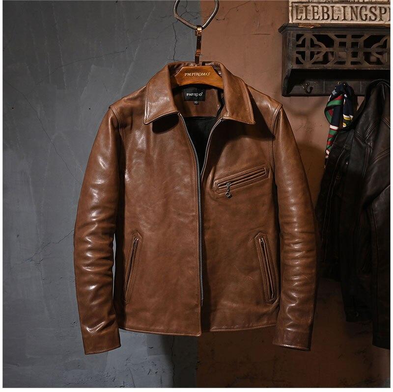 جاكيت راكب الدراجة النارية جلد بني عتيق ، جاكيت راكب الدراجة النارية كلاسيكي ، ملابس جلدية رفيعة للرجال ، شحن مجاني