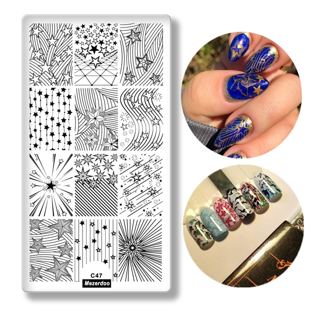 Geometric Line Pattern Rectangle Nail Stamping Plates Star curve Image Nail Art Stamp Stencils Manicure Template Tools C47 недорого