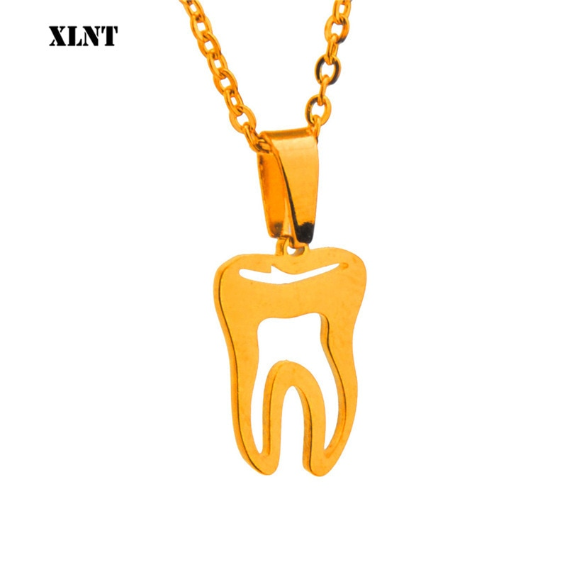 XLNT человеческий зуб кулон стоматолога ожерелье, серебро/золото цвета покрытием медицинские ювелирные изделия, подарок для врача/медсестры