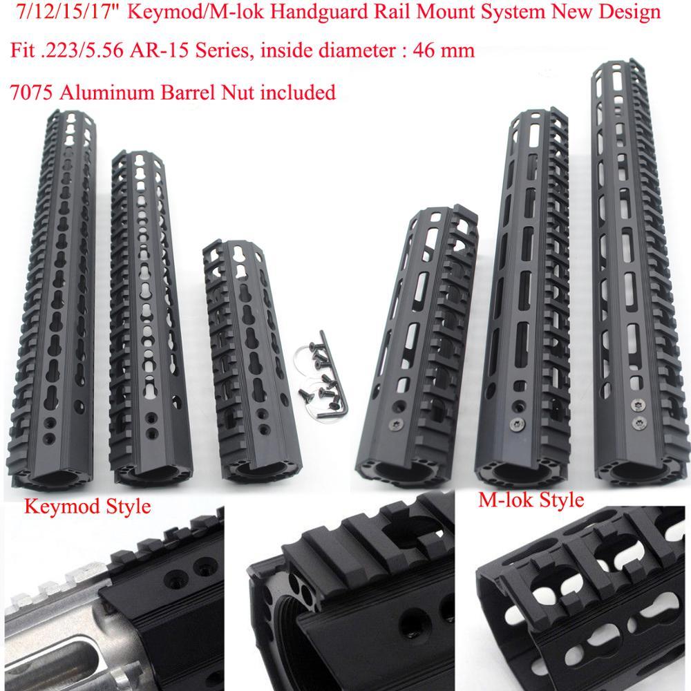TriRock-نظام تثبيت Picatinny خفيف الوزن للغاية ، 7/10/12/15/17 بوصة Keymod/M-luke Handguard للسكك الحديدية ، قطر كبير 46 مللي متر ، أسود
