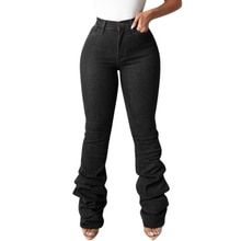 Black Jeans Women Autumn Fashion Stretch Skinny Mid Waist Blue Stacked Jeans Lady Casual Slim Bell B