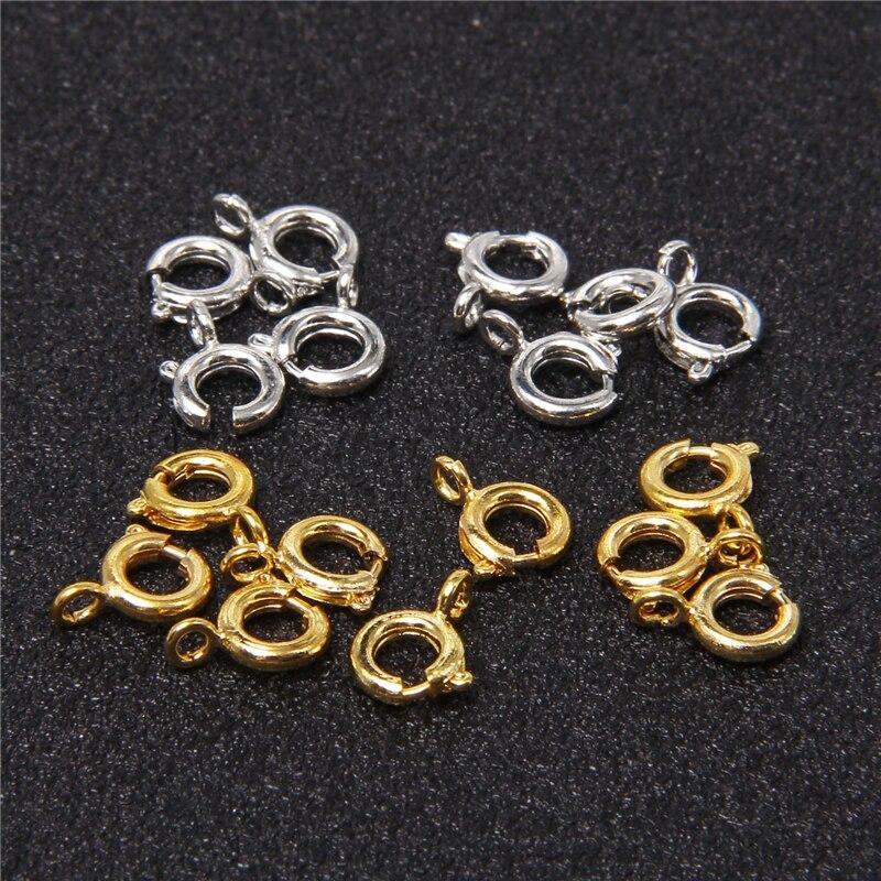 50 pcs/lot 6mm or printemps anneau fermoir avec anneau de saut ouvert bijoux fermoir pour chaîne collier Bracelet connecteurs bricolage fabrication de bijoux