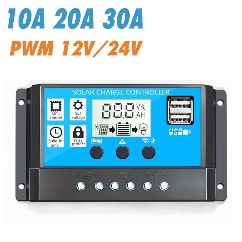 Controlador de carga Solar 12V/24V 10/20/30A Auto PWM 5V salida Panel Solar regulador de la batería con pantalla LCD Dual USB