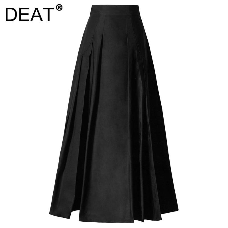 DEAT 2021 جديد الربيع والخريف موضة عادية الأسود مطوي سليم عالية الخصر ألف خط كبير سوينغ مظلة تنورة المرأة SL276