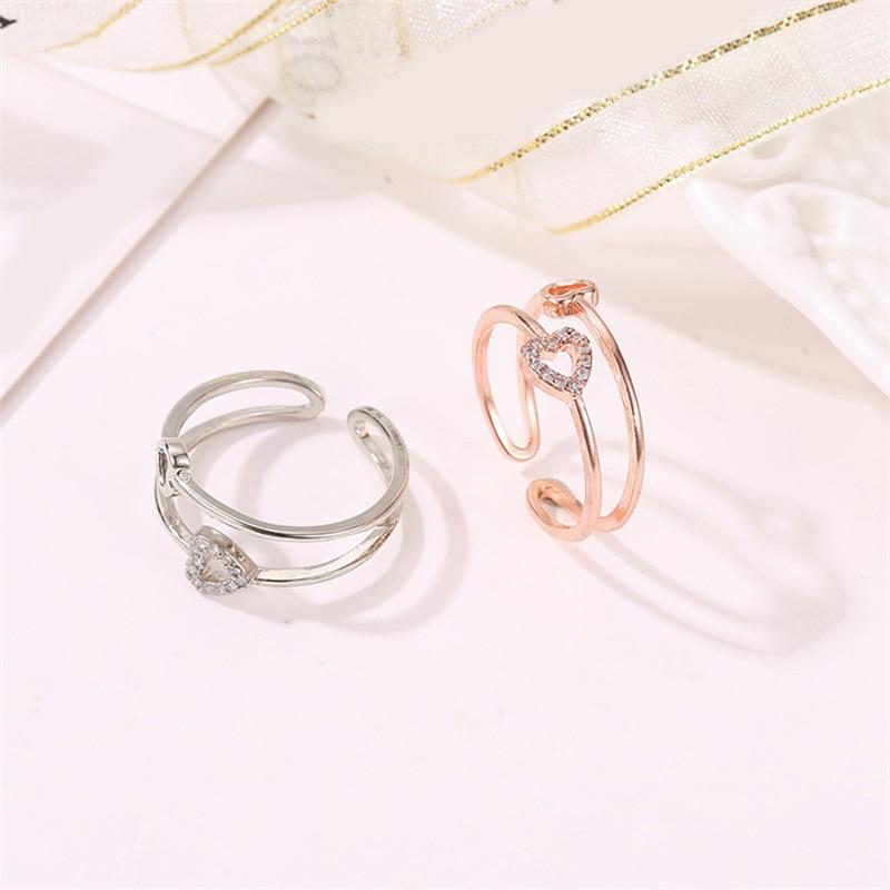 Juste coeur à coeur anneaux romantiques or Rose/argent couleur bijoux de fiançailles de mode pour les amoureux des femmes offre spéciale