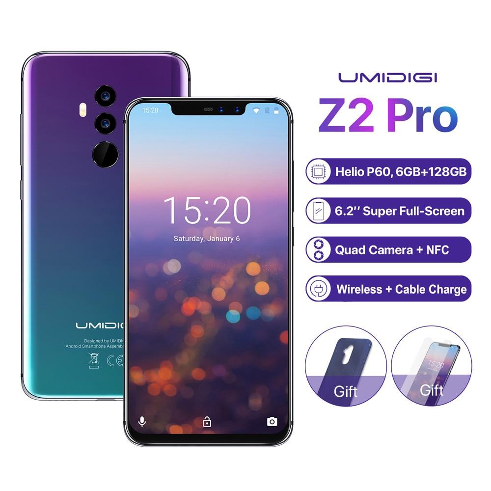 "Original UMIDIGI Z2 Pro 6GB 128GB Smartphone 6,2 ""Helio P60 Android 8,1 4G LTE inalámbricos NFC cargar cuatro cámaras teléfono móvil"