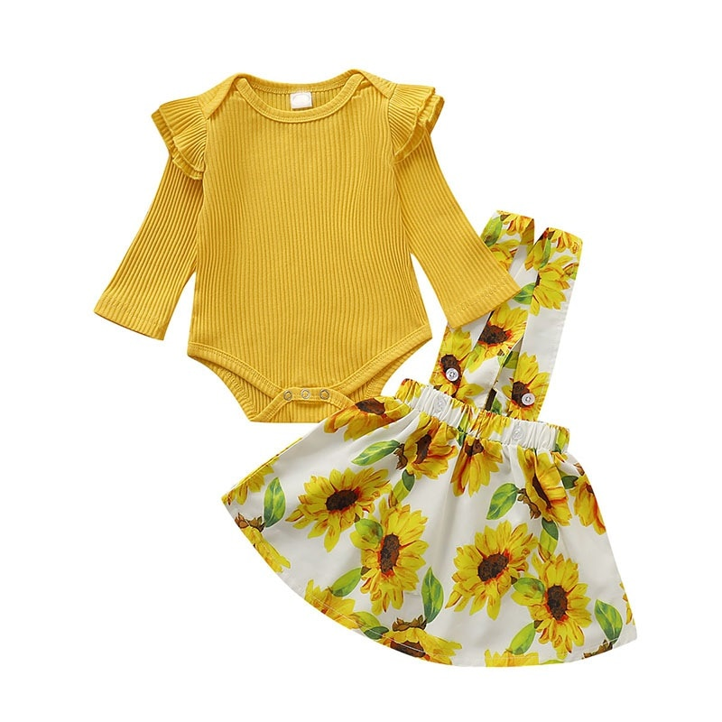 Autumn Baby Girl Newborn Long Flare Sleeve Romper Strap Flower Skirts Costume Sets Newest