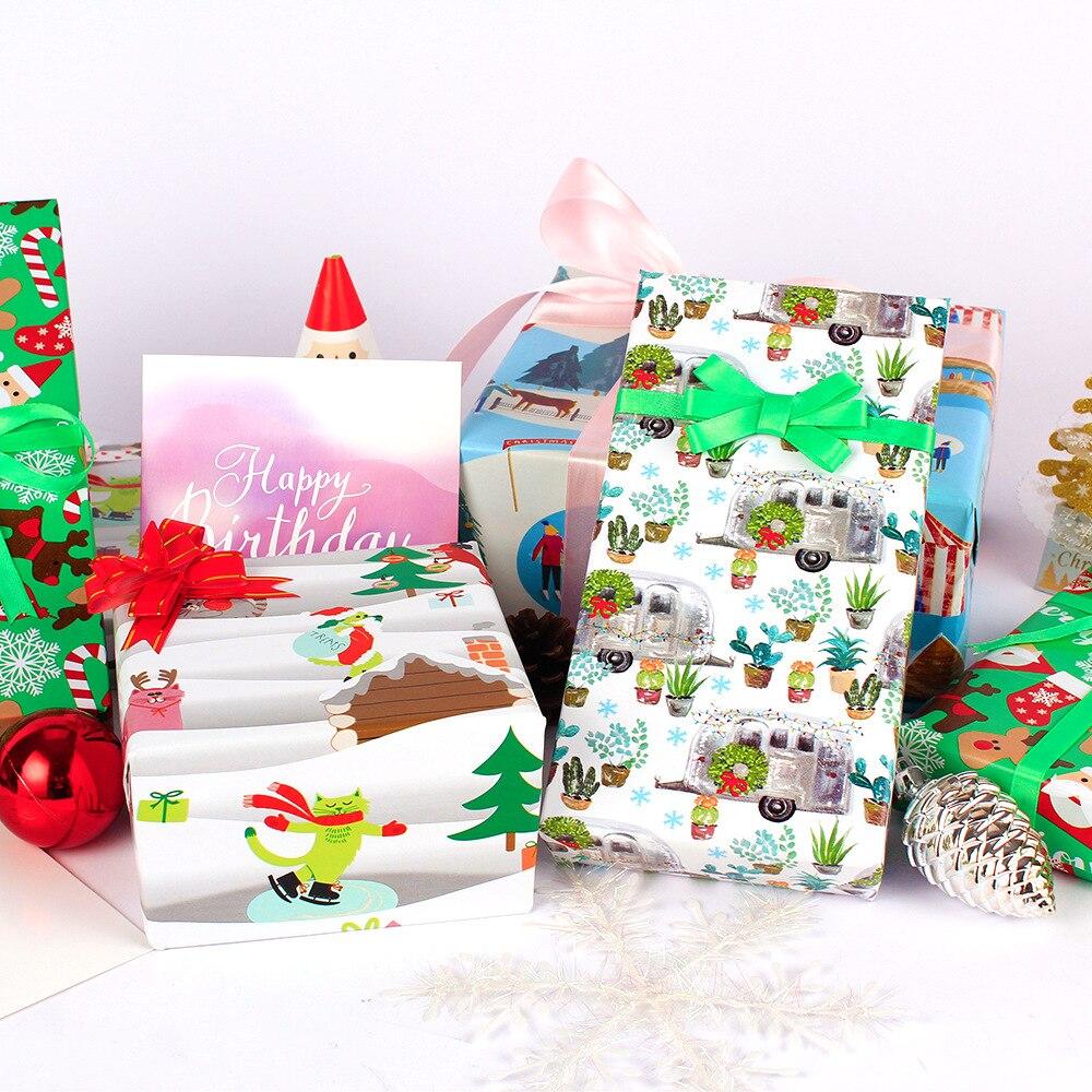 50x70cm papai noel padrão papel de embrulho de natal 20 folhas diy presente perfeito embrulho de arte capa de livro decoração