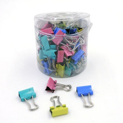 60Pcs 15mm Colorful Metal Binder Clips Notes Letter Paper Clip Color Random Office Supplies Office Binding Products