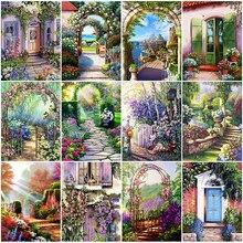 HUACAN 5D Diamond Painting Garden Scenery Full Drill Diamond Embroidery Door Landscape Mosaic Room Decor