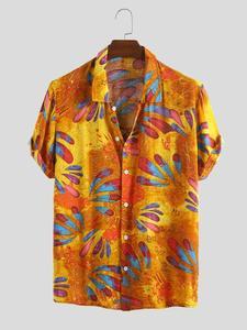 Men Clothing 2021 Summer New European American Men's Casual Slim Printed Short-sleeved Shirt Men