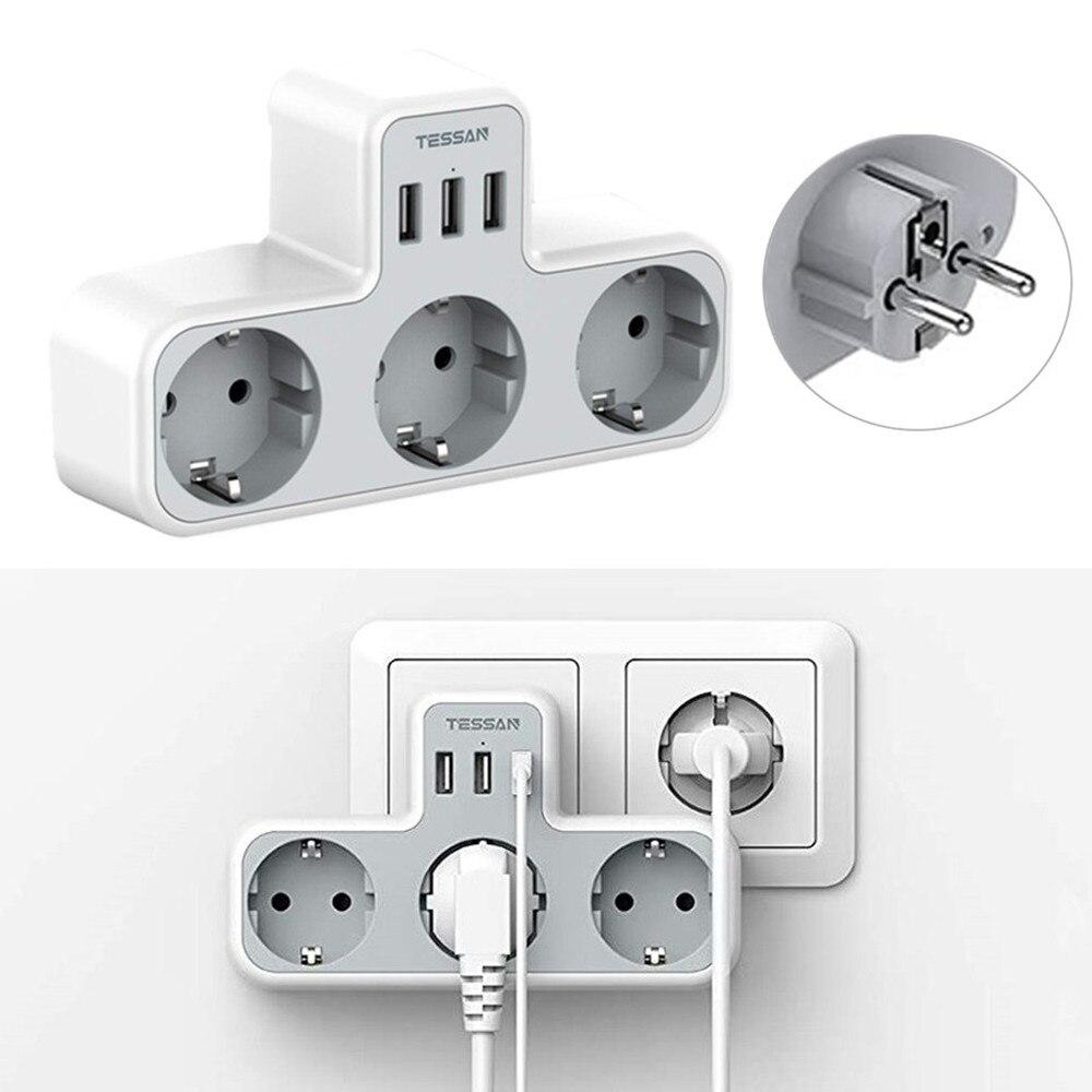 TESSAN-Alargador portátil para hogar inteligente, 3 salidas y 3 puertos USB, estación...