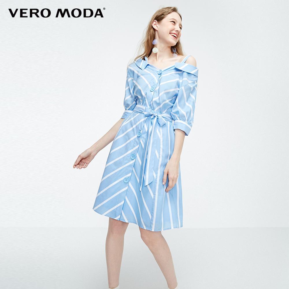 Vestido de camisa con botones decorativos hombros descubiertos para mujer de Vero Moda   31926Z530