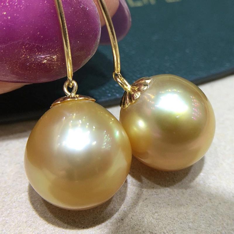 HENGSHENG 12-13mm Nearly Round Natural Ocean Golden Pearls Earrings Pure 18k Gold Drop Earrings Luxury Fine Jewelry For Women