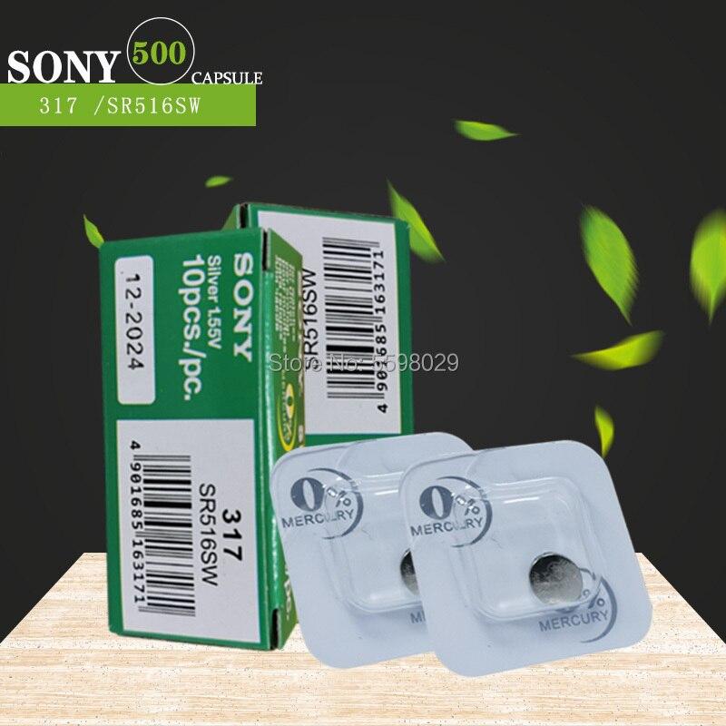 500 Uds Sony 100% Original 317 SR516SW SR516 1,55 V óxido de plata pilas para reloj hecho en Japón solo de embalaje de grano