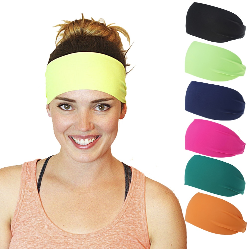 Tiara esportiva para cabelo, tiara larga com elástico antiderrapante, para yoga, exercícios, corrida, atlética